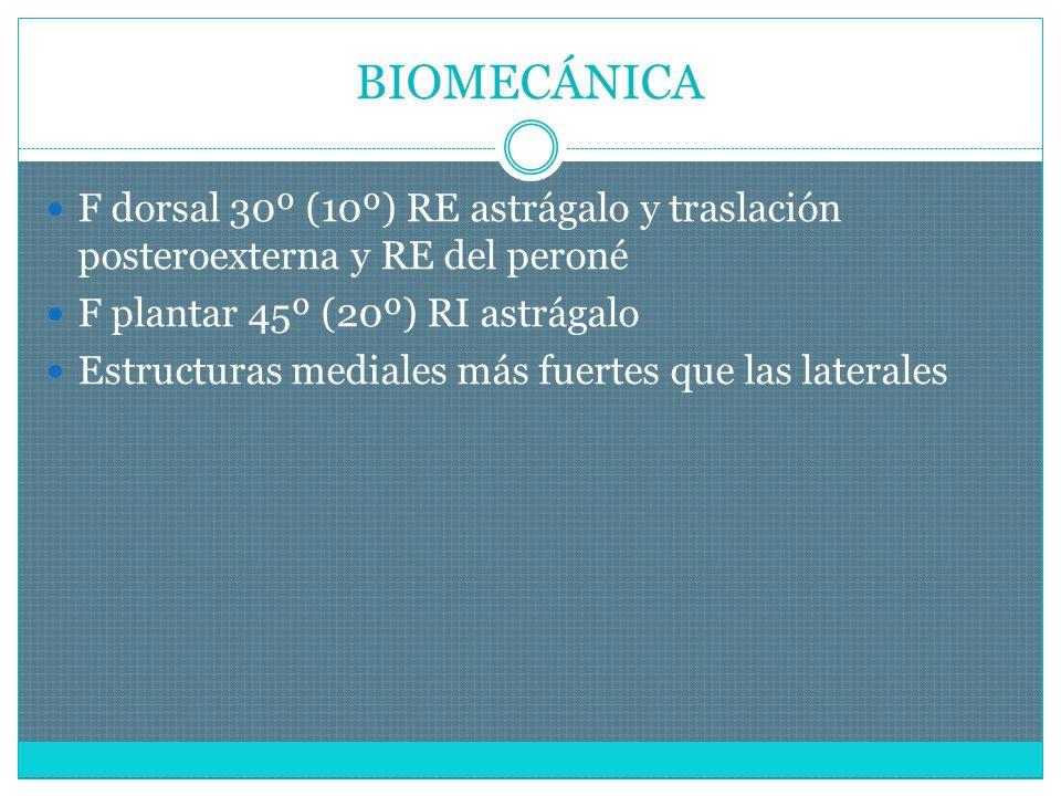 BIOMECÁNICA F dorsal 30º (10º) RE astrágalo y traslación posteroexterna y RE del peroné. F plantar 45º (20º) RI astrágalo.