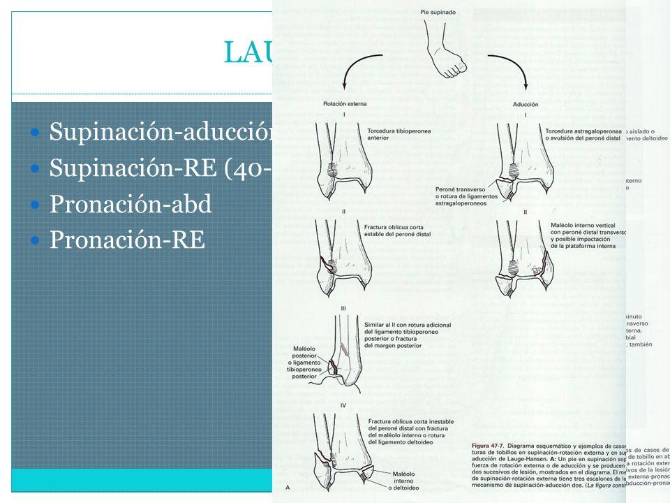 LAUGE-HASEN Supinación-aducción Supinación-RE (40-75%) Pronación-abd