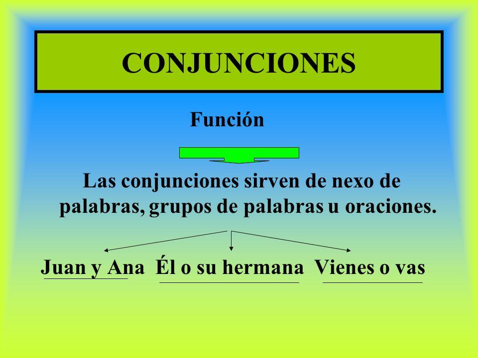 CONJUNCIONES Función. Las conjunciones sirven de nexo de palabras, grupos de palabras u oraciones.