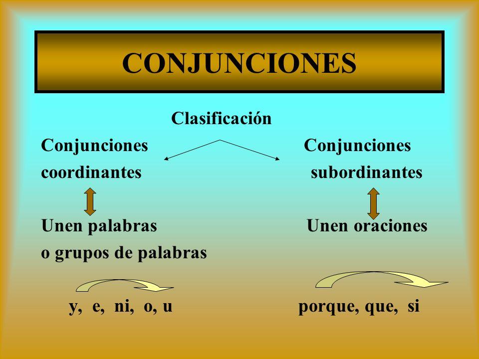 CONJUNCIONES Clasificación Conjunciones Conjunciones