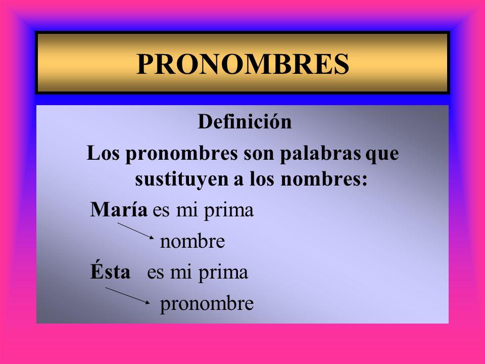 Los pronombres son palabras que sustituyen a los nombres: