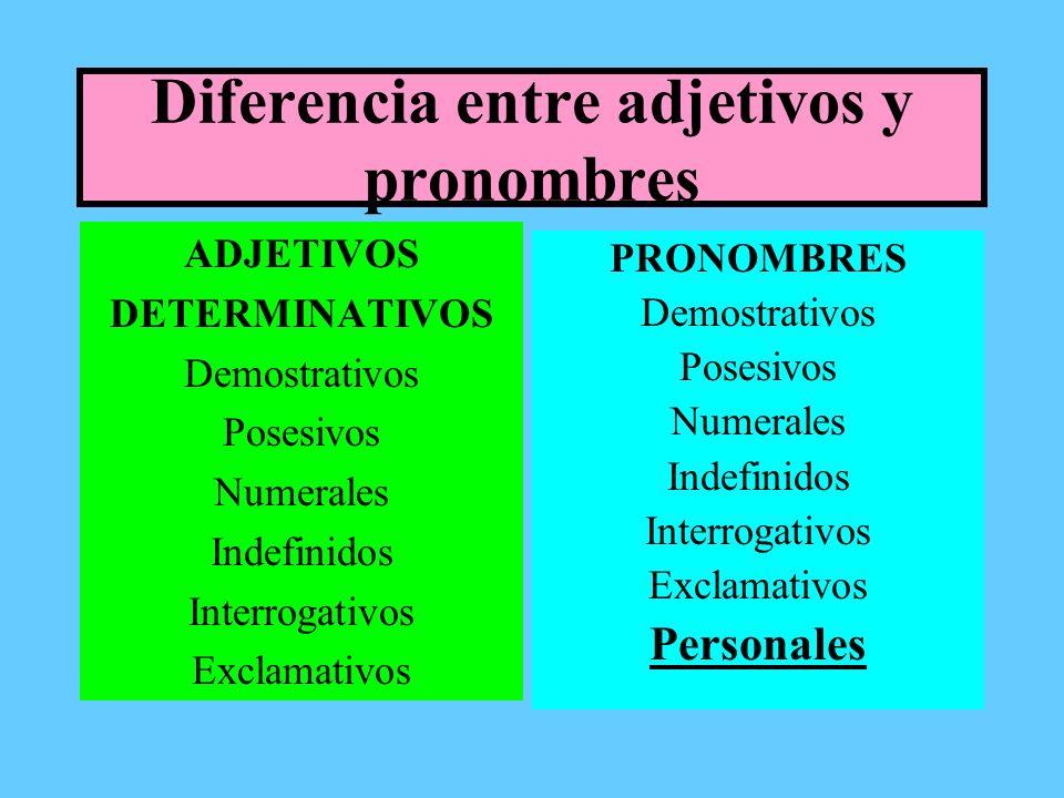 Diferencia entre adjetivos y pronombres