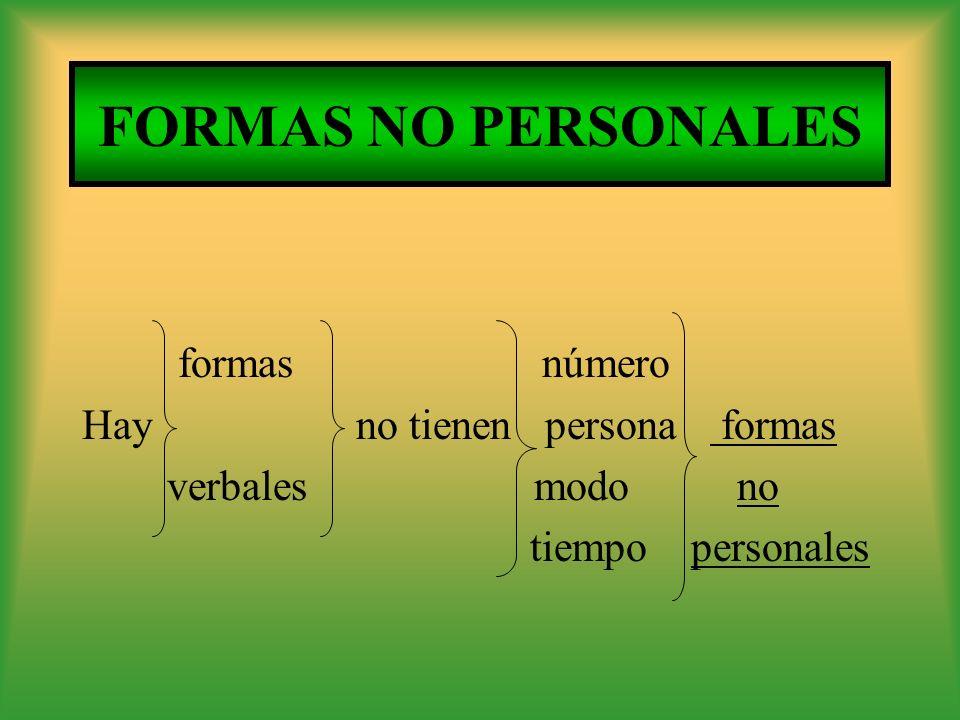 FORMAS NO PERSONALES formas número Hay no tienen persona formas