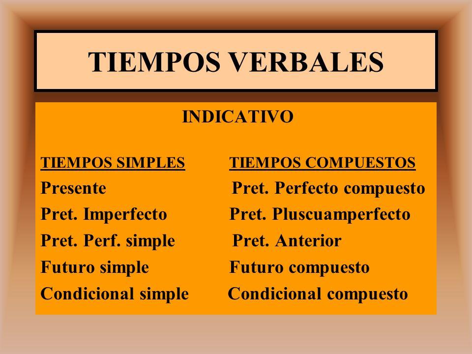 TIEMPOS VERBALES INDICATIVO Presente Pret. Perfecto compuesto