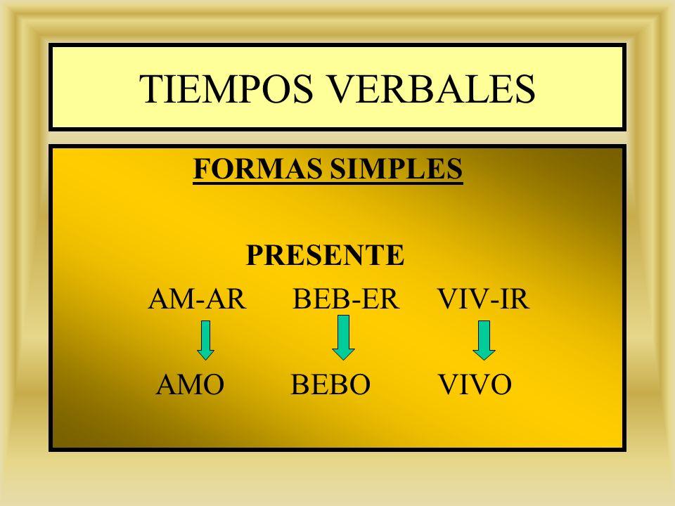 TIEMPOS VERBALES FORMAS SIMPLES PRESENTE AM-AR BEB-ER VIV-IR