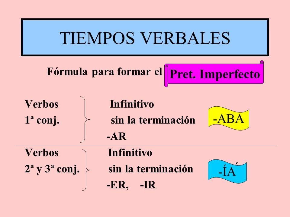 TIEMPOS VERBALES Pret. Imperfecto -ABA -ÍA