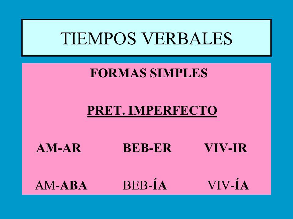 TIEMPOS VERBALES FORMAS SIMPLES PRET. IMPERFECTO AM-AR BEB-ER VIV-IR