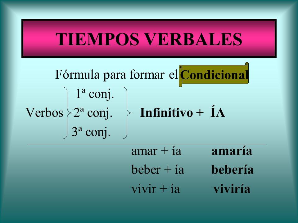 TIEMPOS VERBALES Condicional Fórmula para formar el Condicional: