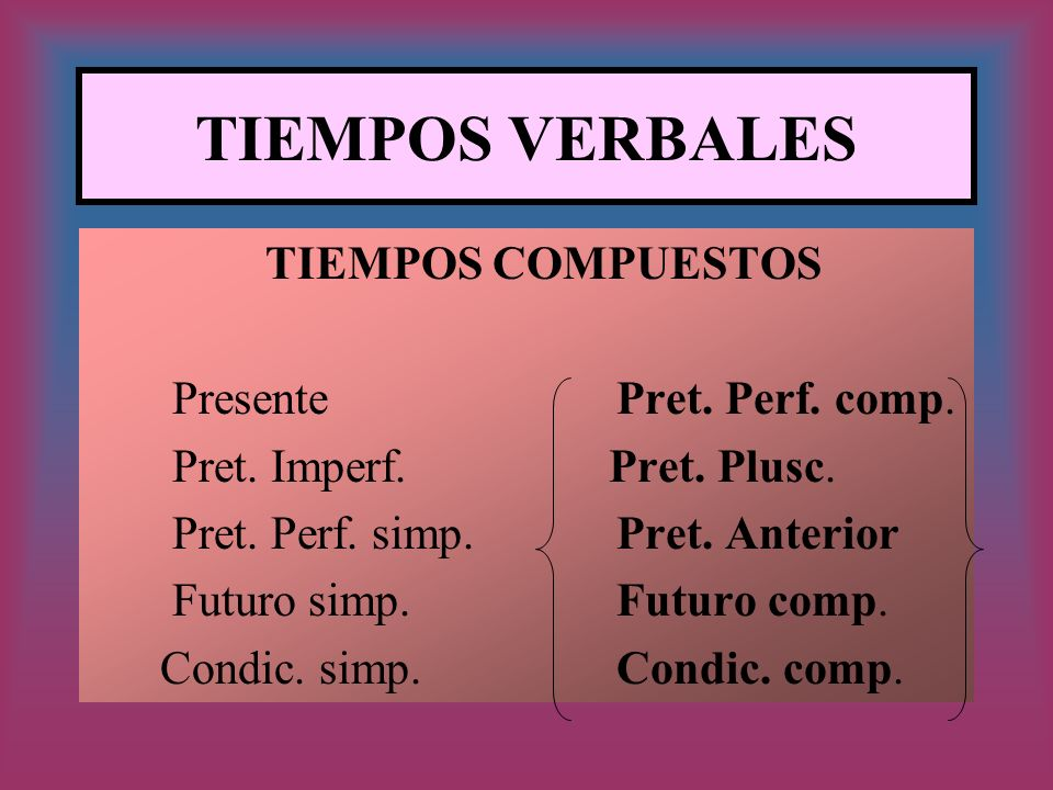 TIEMPOS VERBALES TIEMPOS COMPUESTOS Presente Pret. Perf. comp.