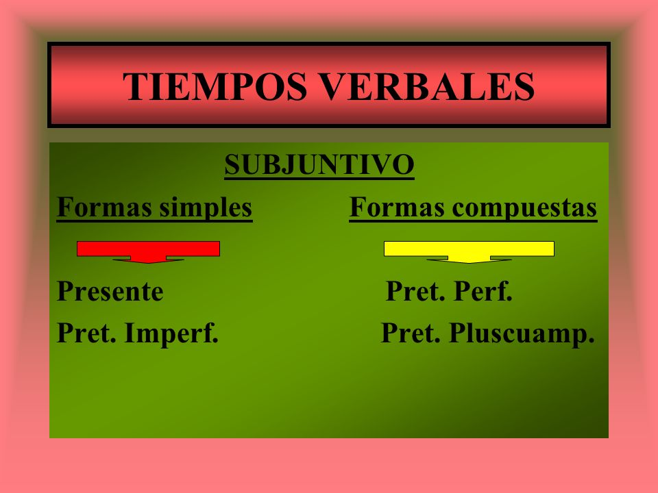 TIEMPOS VERBALES SUBJUNTIVO Formas simples Formas compuestas