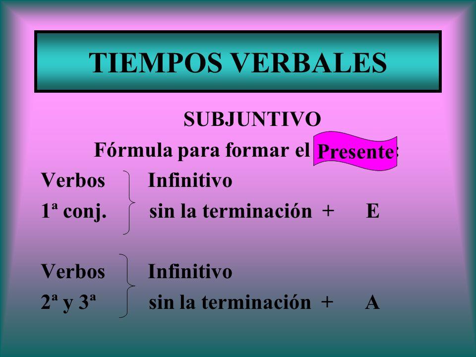 TIEMPOS VERBALES SUBJUNTIVO Fórmula para formar el Presente: