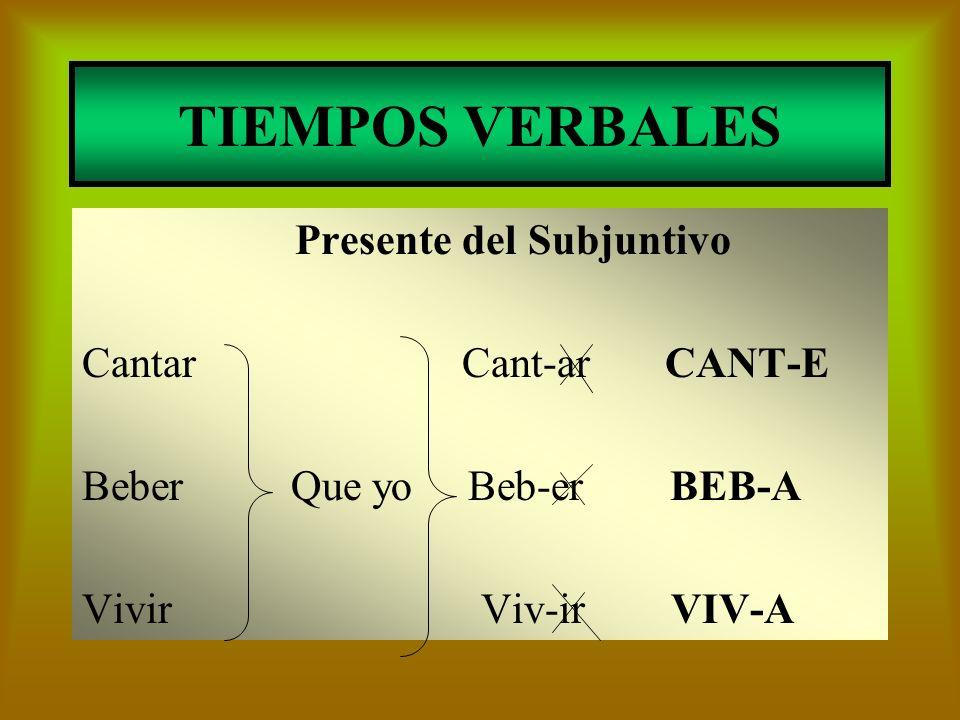TIEMPOS VERBALES Presente del Subjuntivo Cantar Cant-ar CANT-E