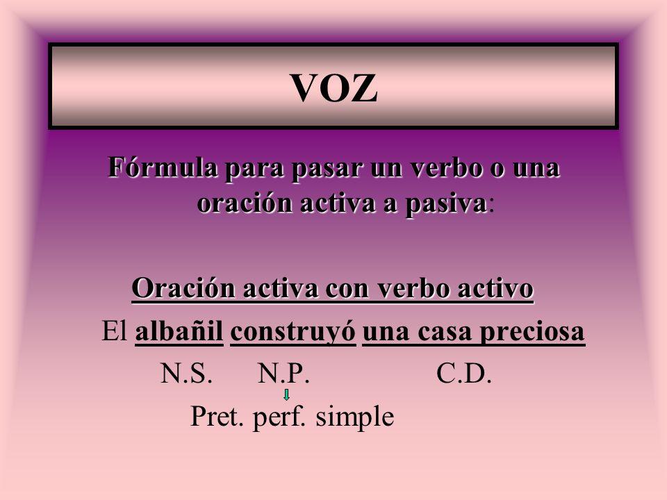 Fórmula para pasar un verbo o una oración activa a pasiva: