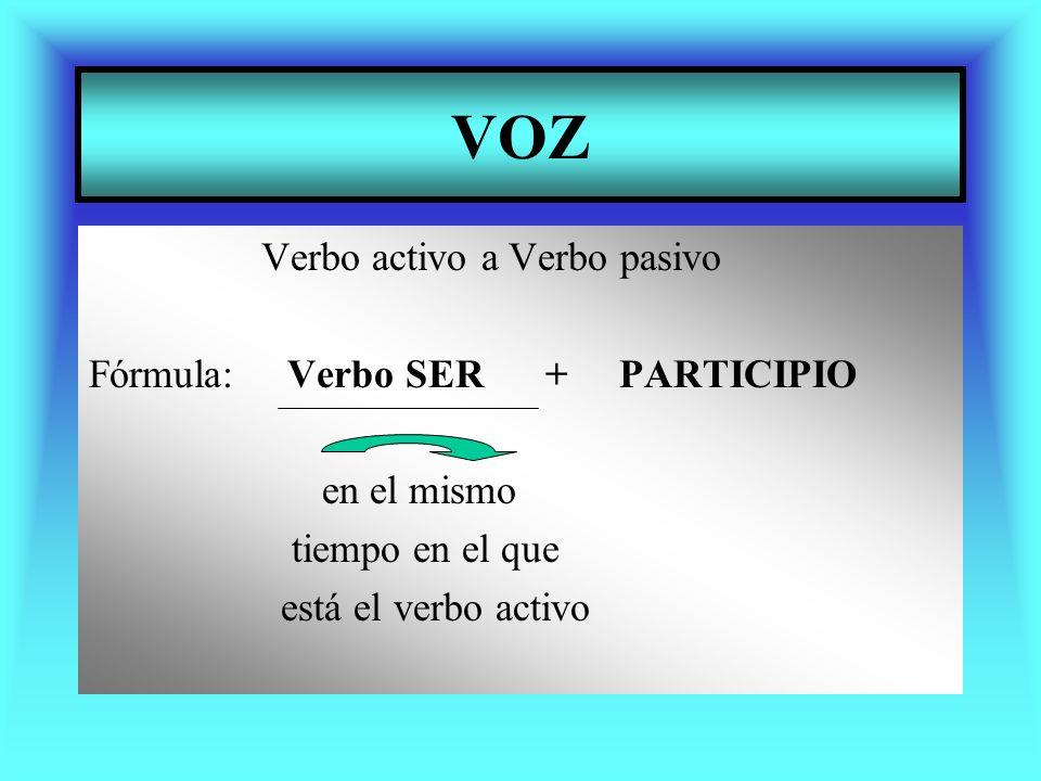 VOZ Verbo activo a Verbo pasivo Fórmula: Verbo SER + PARTICIPIO