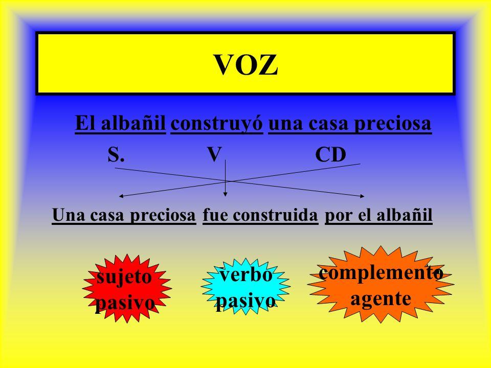 VOZ El albañil construyó una casa preciosa S. V CD complemento sujeto