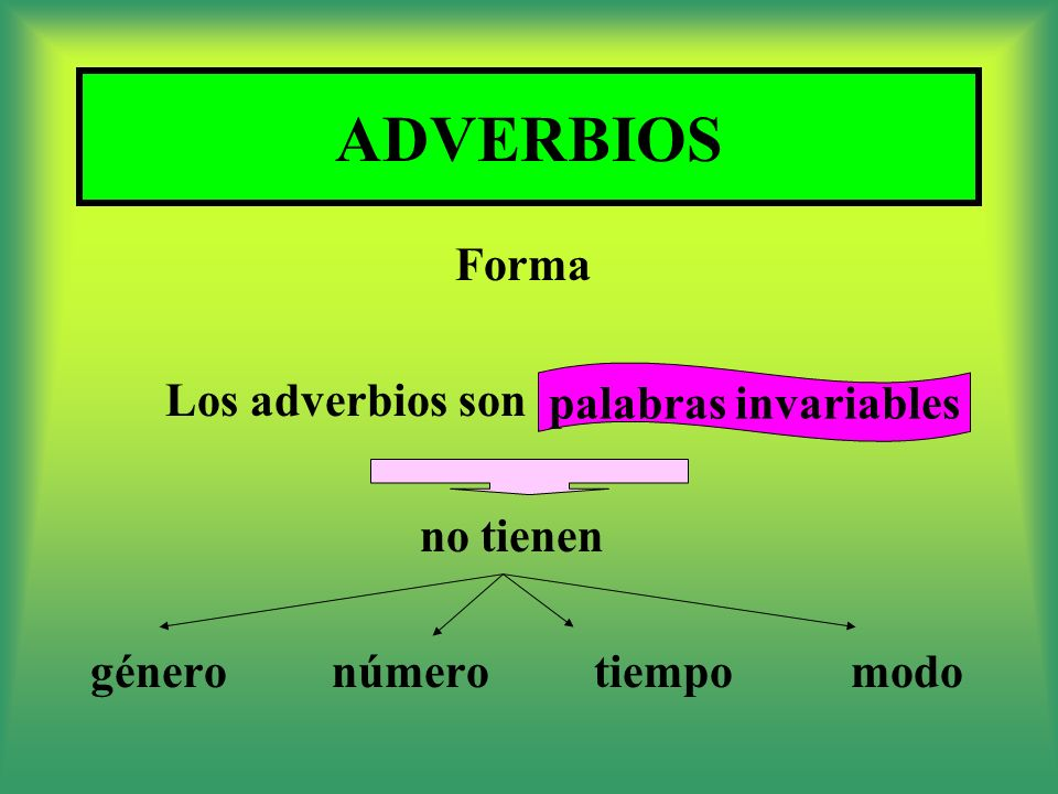 ADVERBIOS Forma Los adverbios son palabras invariables no tienen