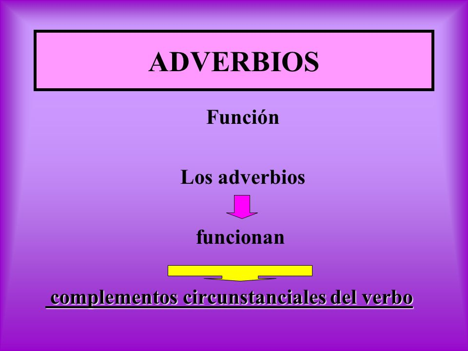 ADVERBIOS Función Los adverbios funcionan