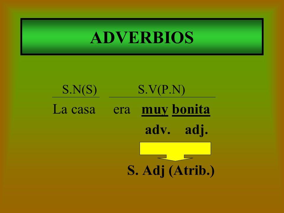 ADVERBIOS adv. adj. S. Adj (Atrib.) S.N(S) S.V(P.N)