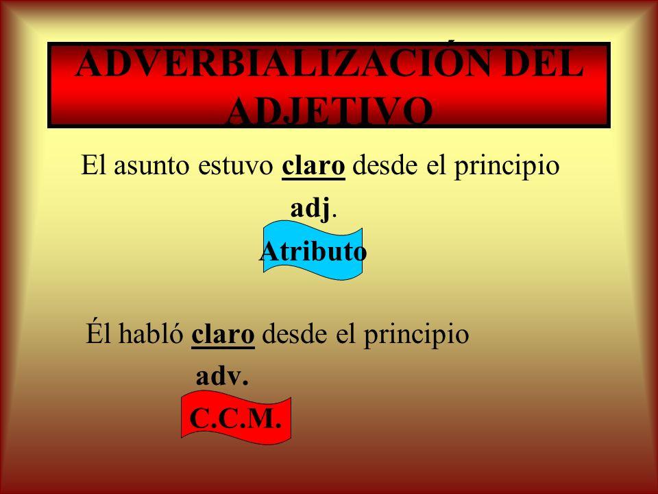 ADVERBIALIZACIÓN DEL ADJETIVO