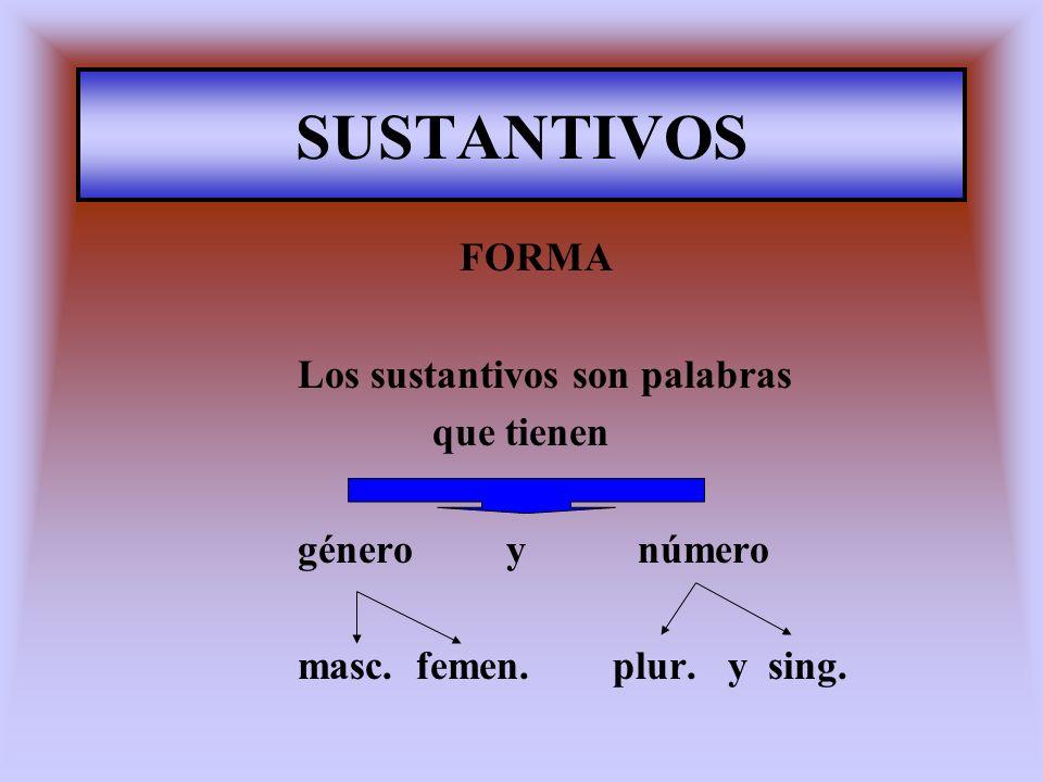 SUSTANTIVOS Los sustantivos son palabras que tienen género y número