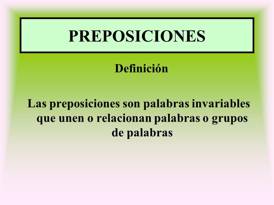 PREPOSICIONES Definición