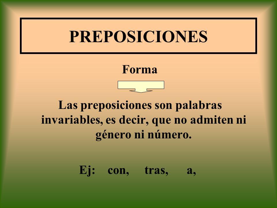 PREPOSICIONES Forma. Las preposiciones son palabras invariables, es decir, que no admiten ni género ni número.