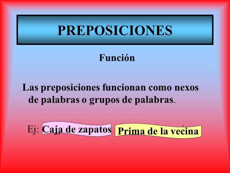 PREPOSICIONES Función