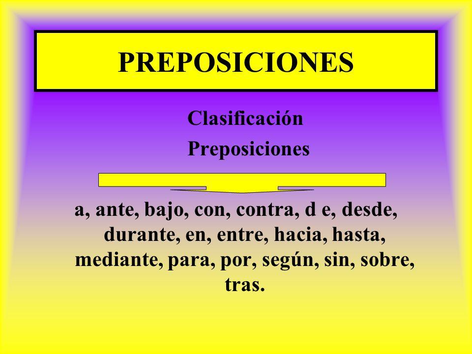 PREPOSICIONES Clasificación Preposiciones