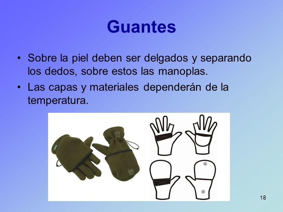 Guantes Sobre la piel deben ser delgados y separando los dedos, sobre estos las manoplas.