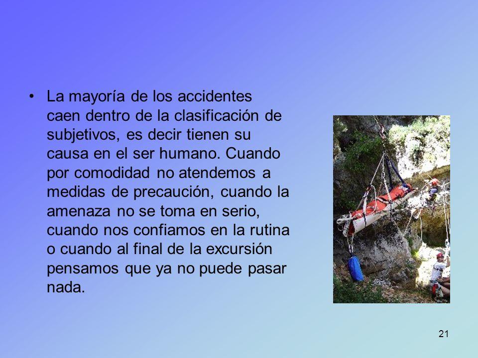 La mayoría de los accidentes caen dentro de la clasificación de subjetivos, es decir tienen su causa en el ser humano.