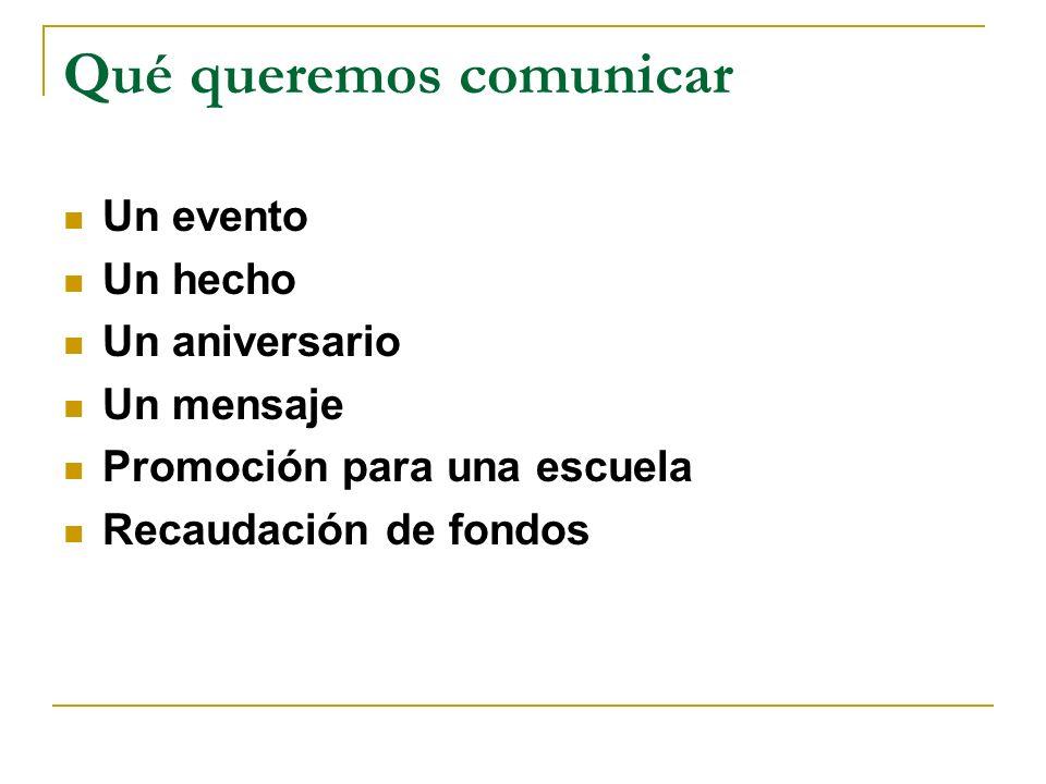Qué queremos comunicar