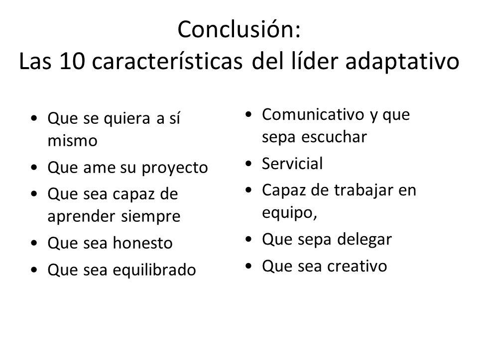 Conclusión: Las 10 características del líder adaptativo