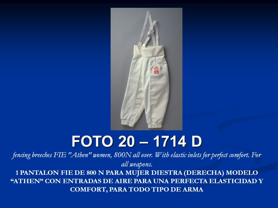 FOTO 20 – 1714 D fencing breeches FIE Athen women, 800N all over. With elastic inlets for perfect comfort. For all weapons.