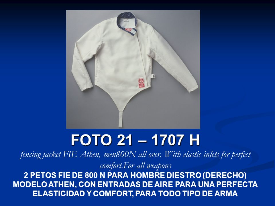 FOTO 21 – 1707 H fencing jacket FIE Athen, men800N all over. With elastic inlets for perfect comfort.For all weapons.