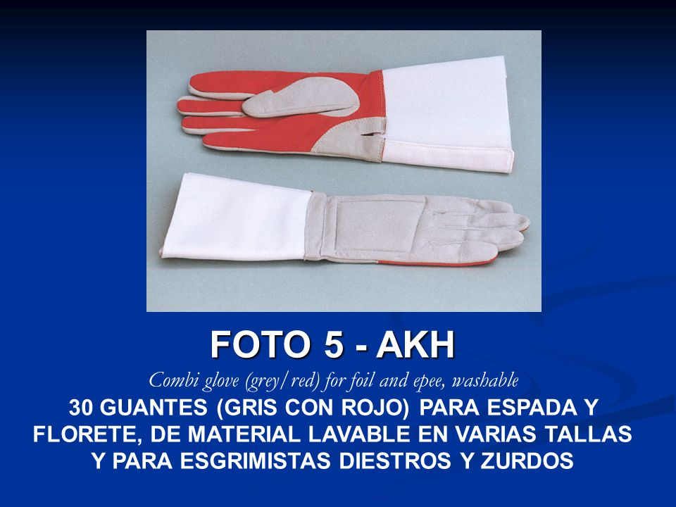 Combi glove (grey/red) for foil and epee, washable