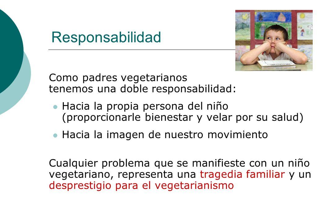 Responsabilidad Como padres vegetarianos tenemos una doble responsabilidad: