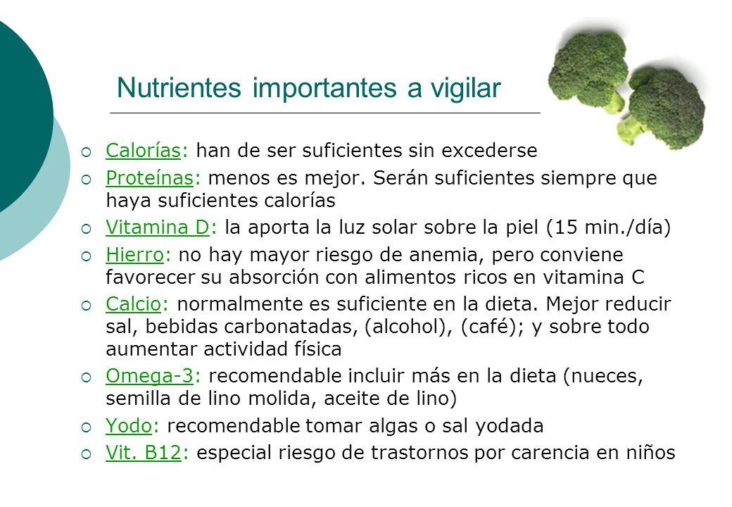 Nutrientes importantes a vigilar