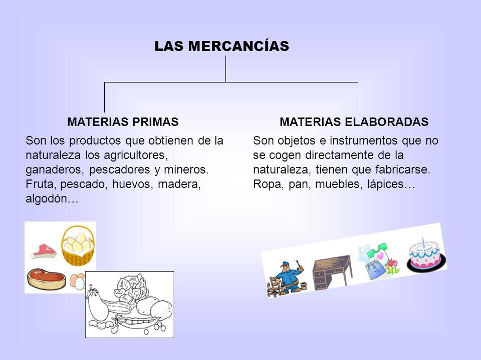 LAS MERCANCÍAS MATERIAS PRIMAS MATERIAS ELABORADAS
