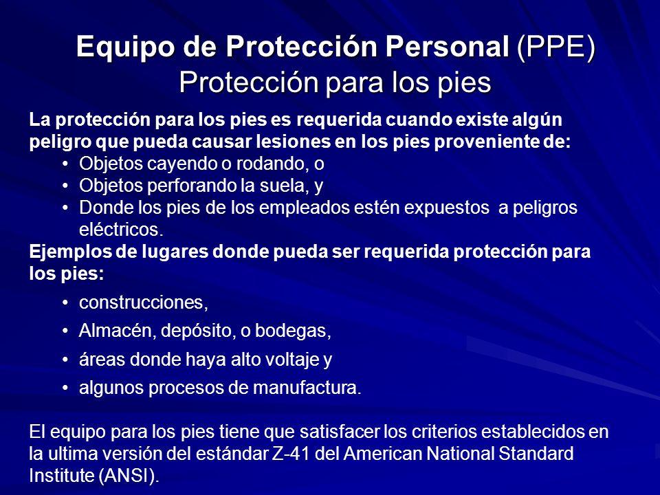 Equipo de Protección Personal (PPE) Protección para los pies