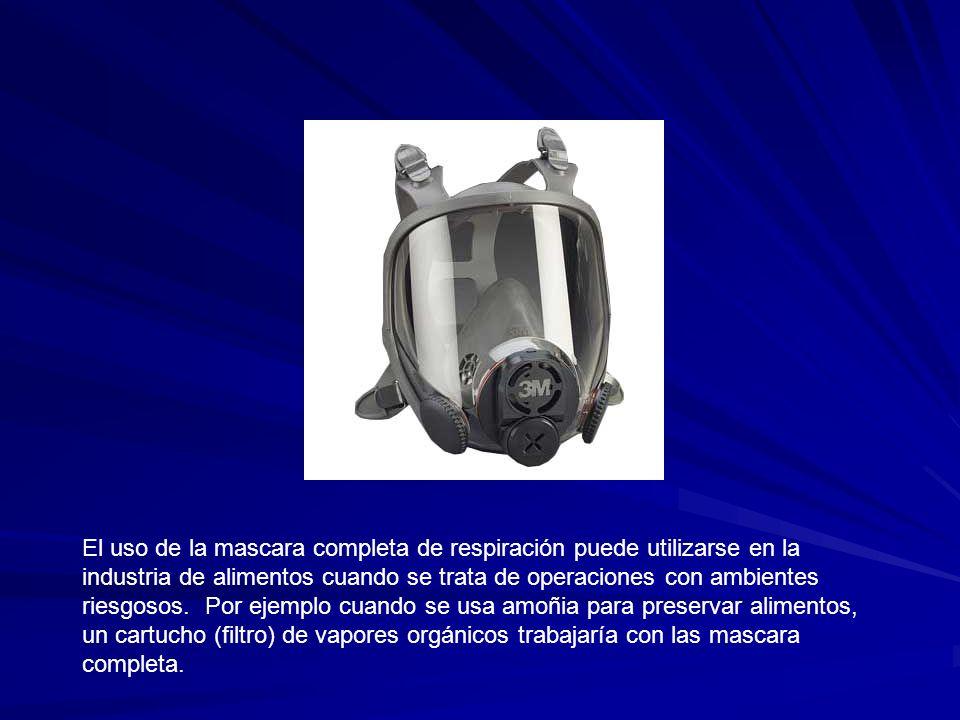 El uso de la mascara completa de respiración puede utilizarse en la industria de alimentos cuando se trata de operaciones con ambientes riesgosos.