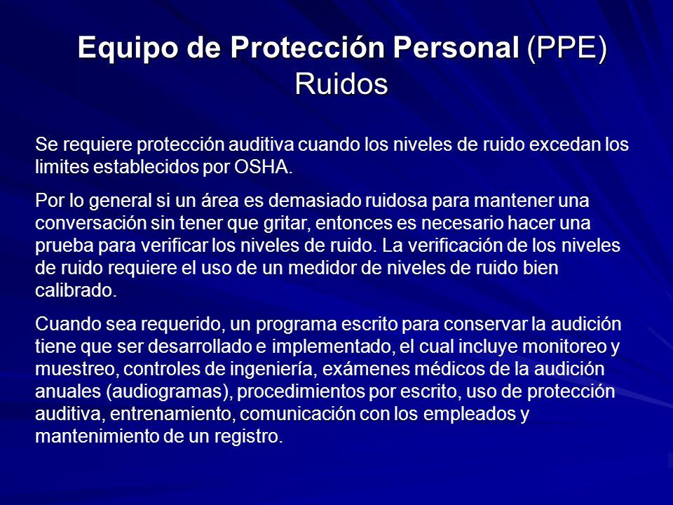 Equipo de Protección Personal (PPE) Ruidos