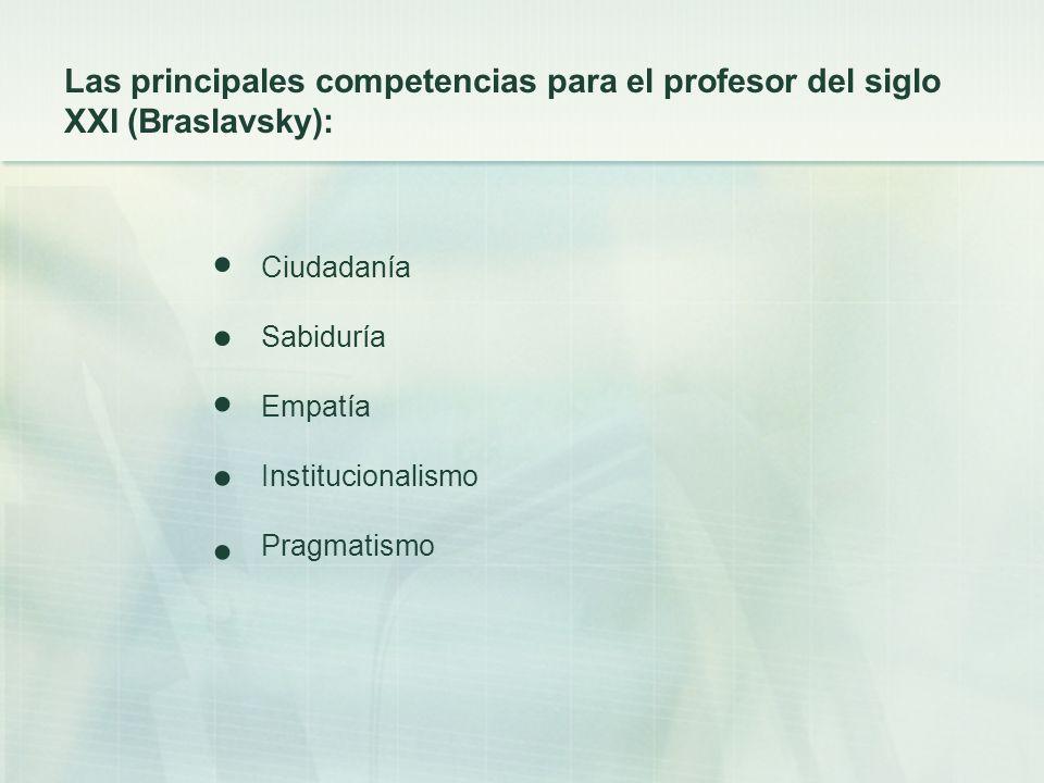 Las principales competencias para el profesor del siglo XXI (Braslavsky):