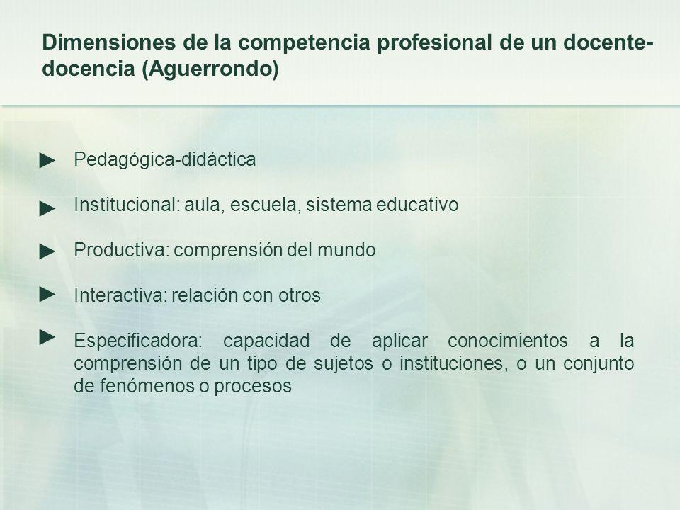 Dimensiones de la competencia profesional de un docente-docencia (Aguerrondo)