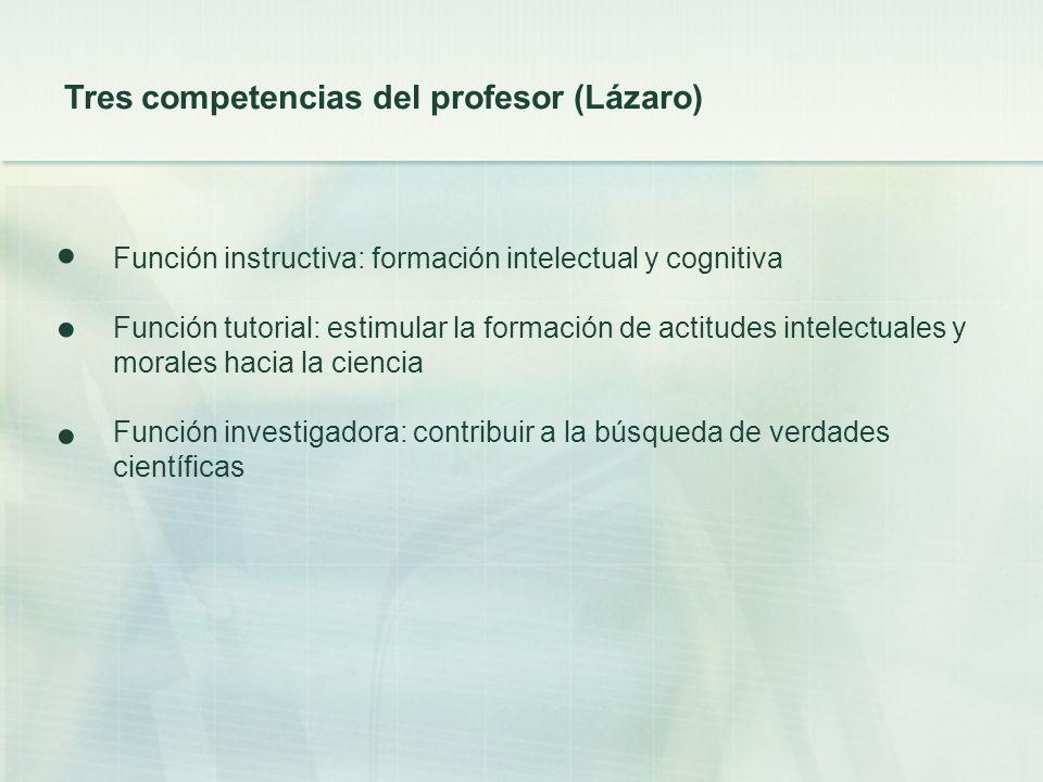 ● ● ● Tres competencias del profesor (Lázaro)