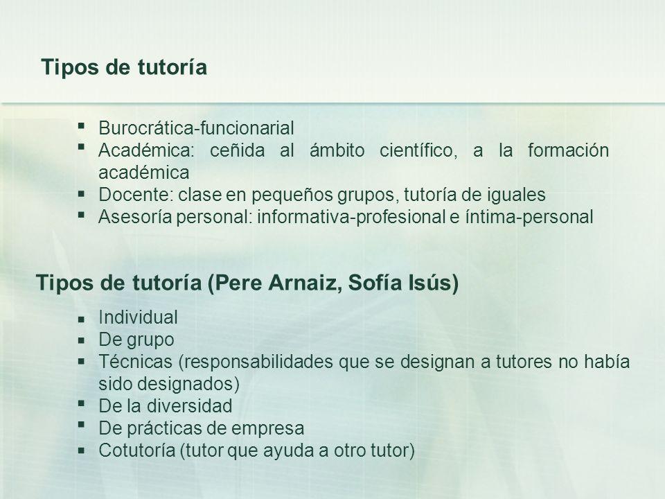 Tipos de tutoría (Pere Arnaiz, Sofía Isús)