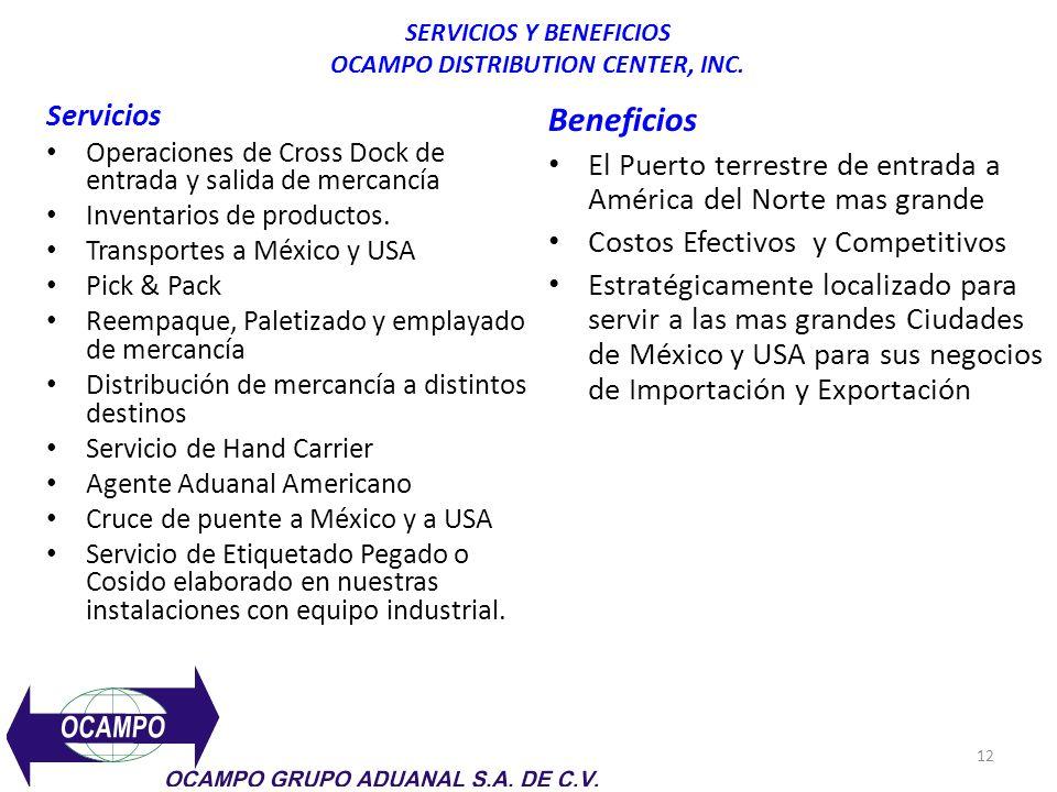 SERVICIOS Y BENEFICIOS OCAMPO DISTRIBUTION CENTER, INC.