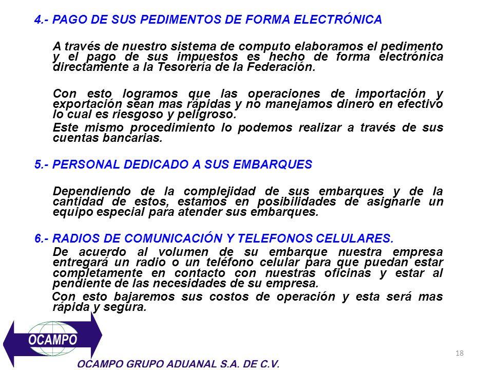 4.- PAGO DE SUS PEDIMENTOS DE FORMA ELECTRÓNICA
