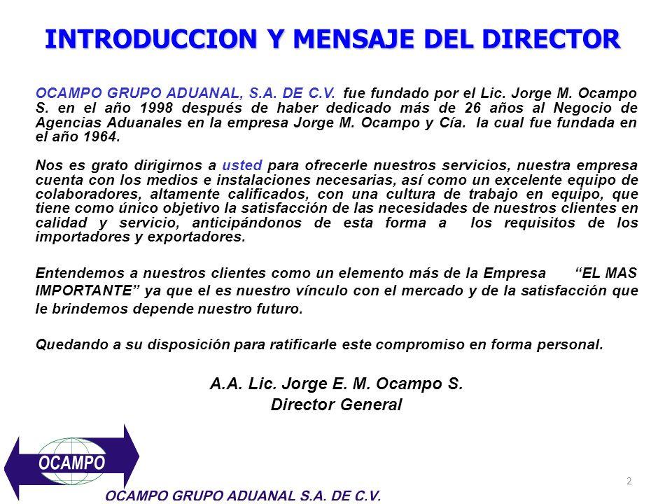 INTRODUCCION Y MENSAJE DEL DIRECTOR