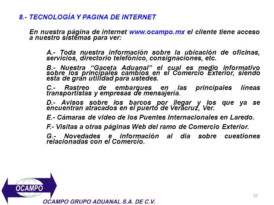 8.- TECNOLOGÍA Y PAGINA DE INTERNET