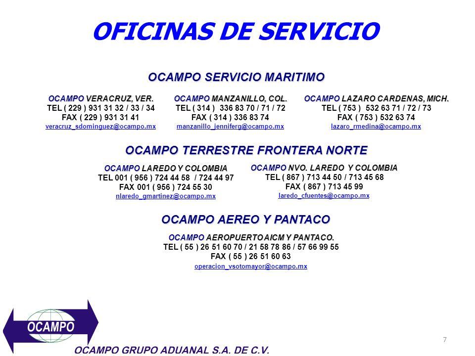 OFICINAS DE SERVICIO OCAMPO SERVICIO MARITIMO